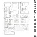 큰 나무 데크가있는 단층 구조 (흑백) 69518210