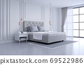 Modern and classic bedroom interior design, white and gray room concept ,house decoration ideas 69522986