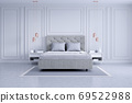 Modern and classic bedroom interior design, white and gray room concept ,house decoration ideas 69522988