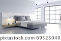 Bedroom and Modern Loft style.,Cozy white and gray room minimalist concept ,bed with Polished concrete floor and white wall 69523040