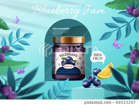Blueberry jam ad banner 69523207