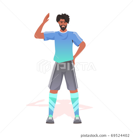 footbal player in sportswear standing pose african american man ready to start the match 69524402