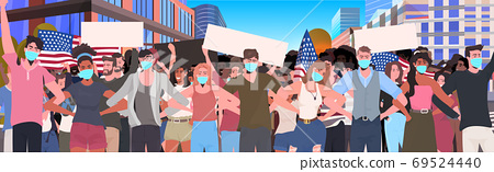 mix race people crowd in masks holding empty banner labor day celebration coronavirus quarantine 69524440