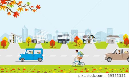 秋季住宅區,自行車和汽車 69525331