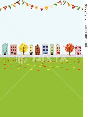 秋季城市景觀,外國風格的裝飾旗幟,垂直A4比率 69525336