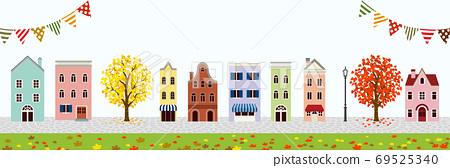 秋季城市風光,外國裝飾旗,橫幅比例 69525340