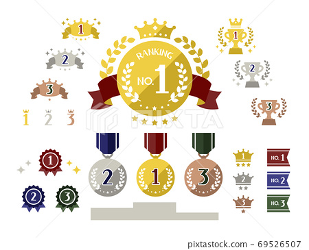 簡單可愛的排名圖標集金色,銀色和古銅色 69526507