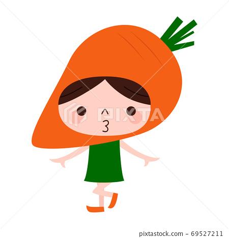 人參性格。愉快地跳舞孩子的例證戴菜紅蘿蔔頭飾和。 69527211