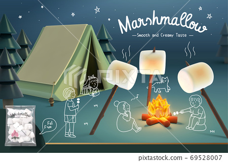 Marshmallow ad banner with campsite 69528007