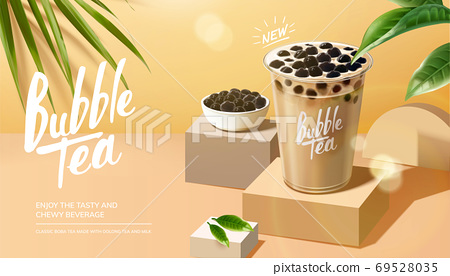 Bubble milk tea advertisement 69528035