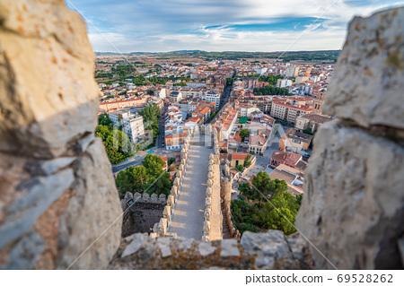 Almansa castle and city top view in Albacete 69528262
