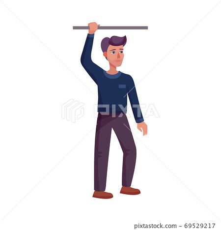 Young Man Holding Handrail in Public Transport Vector Illustration 69529217