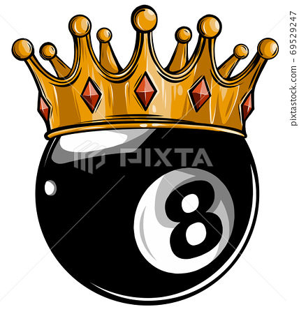 Gold crown on a billiard ball isolated on white vector 69529247