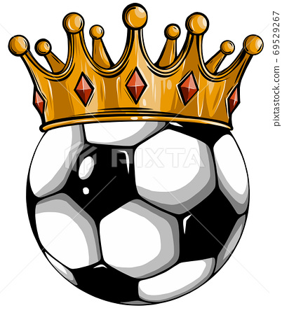 Gold crown on a soccer ball isolated on white 69529267