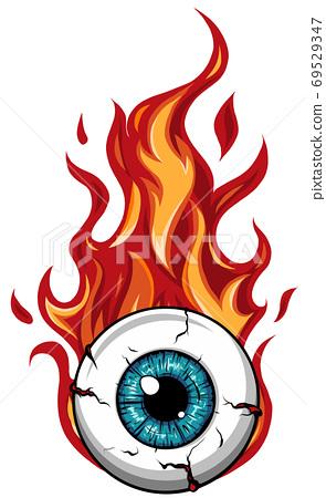 Single eyeball on fire in flames vector illustration 69529347