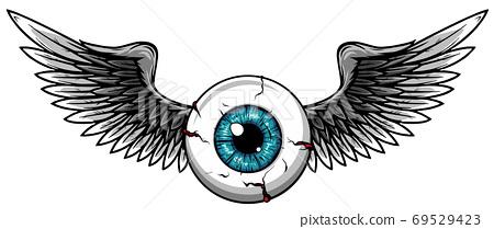 Vector illustration of Tattoo Flying Eyeball design 69529423