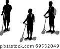 man riding electric scooter silhouettes set 69532049