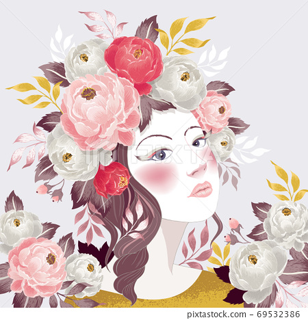 Vector illustration of a girl with floral headdress in spring for Wedding, anniversary, birthday and party. Design for picture frame, poster and card 69532386