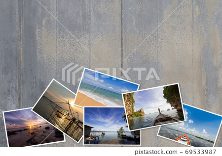 Photos stack on dirty vintage grunge peeling paint wooden background 69533987