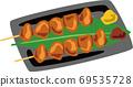 닭 허벅지 살 소금 구이 일식 꼬치 구이 69535728