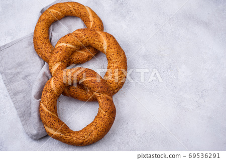 Traditional Turkish simit with sesame 69536291