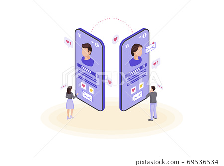 Online chatting isometric color vector illustration 69536534