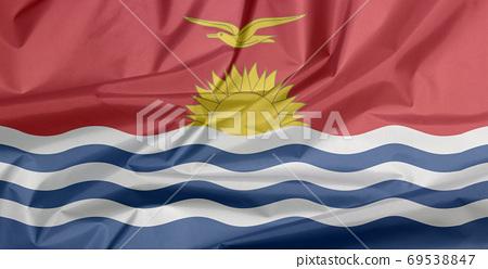 Fabric flag of Kiribati. Crease of Kiribati flag background. red 69538847