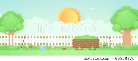 Spring Time, landscape, garden with wooden cart, trees, plant pots, beautiful flowers, farm stuff on grass and fence, bird on the branch, bright sun and cloud, paper art style 69539276