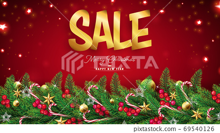 Christmas red background with fir branches and ornaments such as stars,balls and red berries.Top dropping fairy particles around golden sale text 69540126