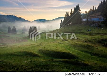 morning mist in apuseni natural park. valley full of fog at dawn 69540795