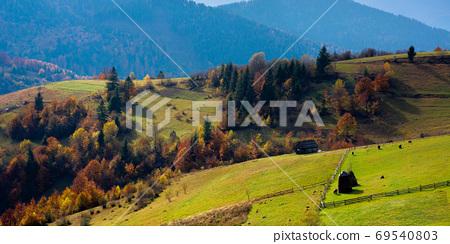 mountainous countryside landscape in autumn. beautiful scenery w 69540803