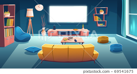 Living room interior with tv, sofa at night time 69541675
