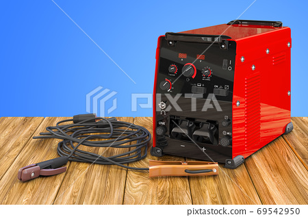 Welding machine with stick electrode holder, work cable and clam 69542950