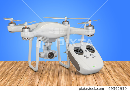 Drone quadrocopter with remote control on the wooden table. 3D r 69542959