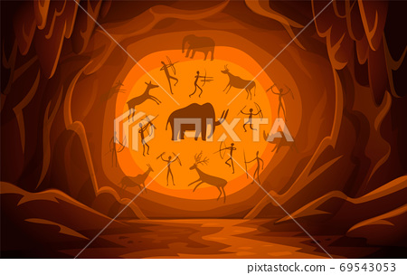 Cave with cave drawings. Cartoon mountain scene background Primitive cave paintings. ancient petroglyphs. 69543053