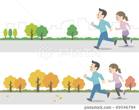 夫婦在戶外慢跑 69546794