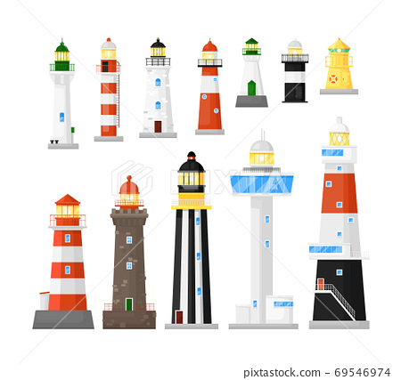 Different kind lighthouse or beacon tower icon set 69546974