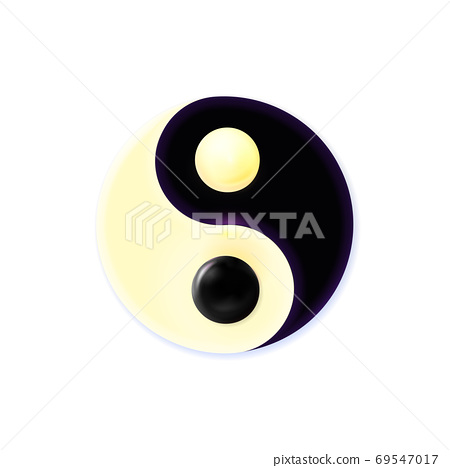Modern contrast cosmic concept Yin and Yang mandala. Colorful art isolated on white background 69547017