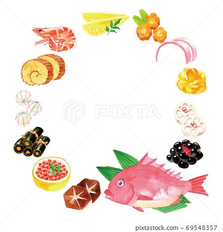 新年賀卡材料:新年菜餚,圓形 69548357