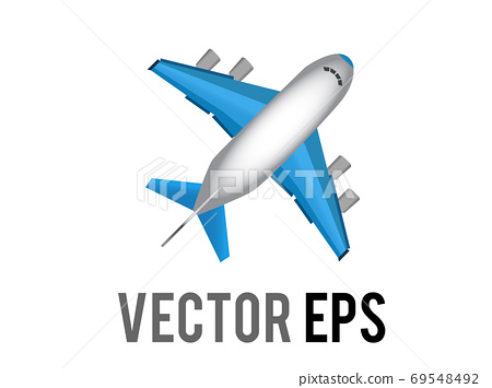 The vector white literal airplane icon with blue wings and engines, represent global air travel or flight mode 69548492