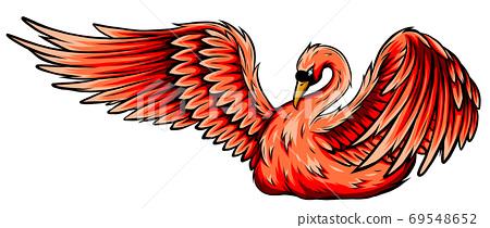 Swan. Hand drawn vector illustration of a swan 69548652