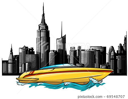 vector Illustration of a luxury private boat on skyscrapers background 69548707