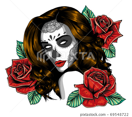 Girl with skeleton make up hand drawn vector sketch. Santa muerte woman witch portrait stock illustration 69548722