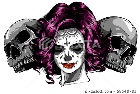 Dead girl with two sugar skulls. vector 69548783