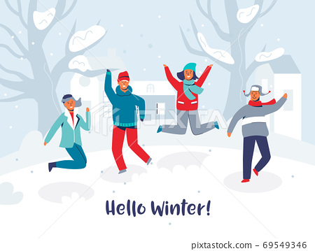 Joyful Characters Friends Jumping in the Snow. People in Warm Clothes on Happy Vacation. Hello Winter Card. Man and Woman Having Fun Outdoors. Vector illustration 69549346