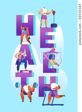 Healthy Lifestyle Sport Banner Cardio Gym Training 69550384
