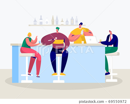 Young Man Woman Drink in Bar. Businessman 69550972