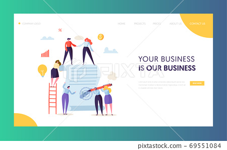Business Character Signing Contract Landing Page 69551084