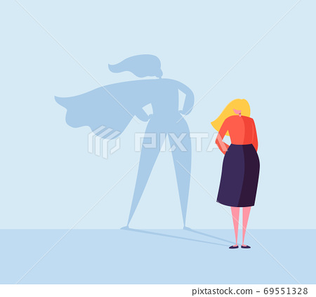 Business Woman with a Super Hero Shadow Character 69551328