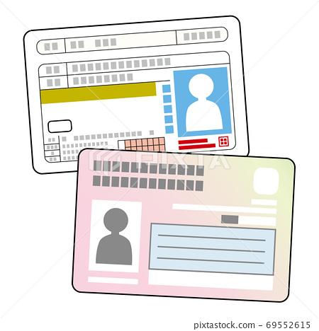 駕駛執照和我的號碼卡表面 69552615